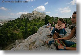 acropolis, athens, europe, girls, greece, horizontal, viewing, photograph
