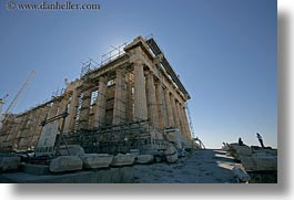 acropolis, athens, europe, greece, horizontal, parthenon, scaffolding, structures, photograph