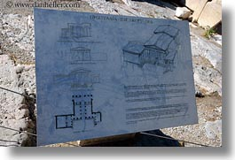 acropolis, athens, europe, greece, horizontal, information, propylaea, signs, photograph