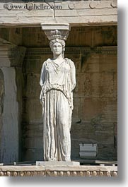 acropolis, athens, caryatids, europe, greece, replica, vertical, photograph