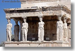 acropolis, athens, caryatids, europe, greece, horizontal, replica, photograph