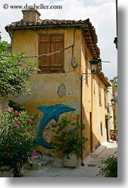 arts, athens, blues, buildings, dolphins, europe, graffiti, greece, old, oranges, vertical, photograph
