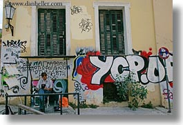 arts, athens, colorful, europe, graffiti, greece, horizontal, men, reading, photograph