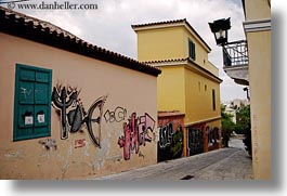 arts, athens, buildings, colorful, europe, graffiti, greece, green, horizontal, shutters, photograph