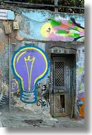 arts, athens, europe, graffiti, greece, lightbulbs, purple, vertical, photograph