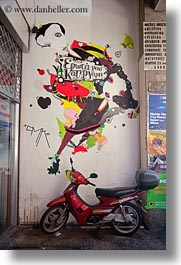 arts, athens, colorful, europe, graffiti, greece, motor, red, scooter, vertical, photograph