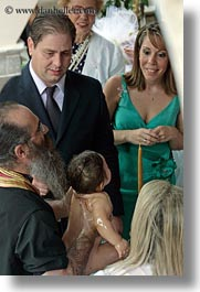 athens, babies, baptism, baptizing, colors, europe, greece, green, nature, priests, vertical, water, photograph