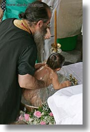 athens, babies, baptism, baptizing, europe, greece, nature, priests, vertical, water, photograph