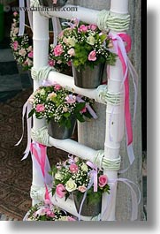 athens, baptism, colors, europe, flowers, greece, ladder, pink, vertical, white, photograph