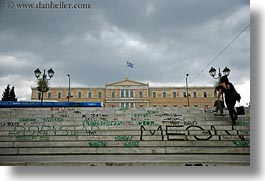 athens, buildings, europe, graffiti, greece, horizontal, parliament, stairs, photograph