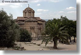 athens, churches, europe, greece, horizontal, palm trees, photograph