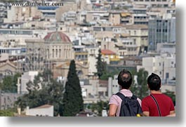 athens, cityscapes, europe, greece, horizontal, men, two, viewing, photograph