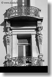 art decco, athens, balconies, black and white, europe, greece, statues, vertical, photograph