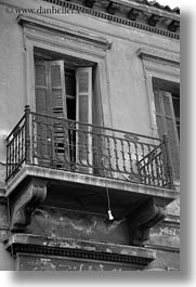 athens, balconies, black and white, doors, europe, greece, lightbulbs, vertical, photograph