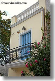 athens, balconies, blues, bougainvilleas, doors, europe, greece, red, vertical, photograph