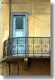 athens, balconies, blues, doors, europe, greece, stucco, vertical, walls, yellow, photograph