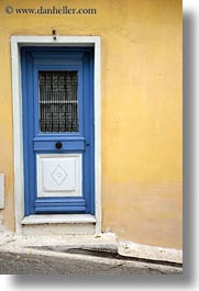 athens, blues, doors, europe, greece, vertical, walls, yellow, photograph