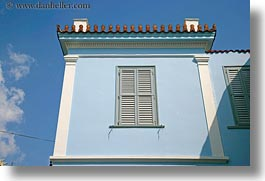 athens, blues, europe, greece, horizontal, houses, sky, photograph
