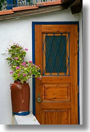 athens, bougainvilleas, doors, europe, greece, potted, vertical, photograph