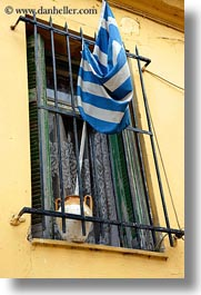 athens, europe, flags, greece, greek, pots, vertical, windows, photograph