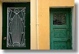 athens, doors, europe, greece, green, horizontal, oranges, walls, photograph