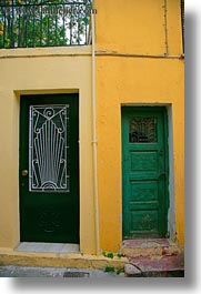 athens, doors, europe, greece, green, oranges, vertical, walls, photograph