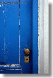 athens, blues, brass, doors, europe, greece, knobs, old, vertical, photograph