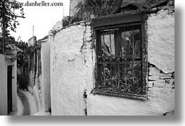 athens, black and white, europe, greece, horizontal, old, walls, white wash, windows, photograph