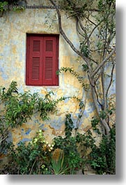 athens, europe, greece, green, ivy, red, vertical, walls, windows, yellow, photograph