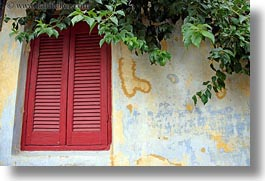 athens, europe, greece, green, horizontal, ivy, red, walls, windows, yellow, photograph
