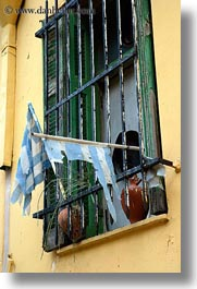 athens, europe, flags, greece, greek, torn, vertical, windows, photograph