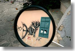 athens, europe, graffiti, greece, horizontal, mirrors, windows, photograph