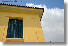 athens, blues, clouds, europe, greece, horizontal, houses, shutters, yellow, photograph