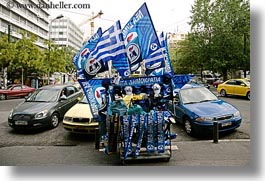 athens, blues, cars, europe, flags, greece, greek, horizontal, photograph