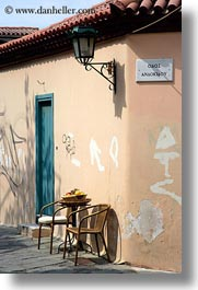 athens, chairs, doors, europe, greece, lamp posts, vertical, photograph