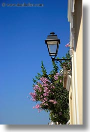 athens, blues, colors, europe, flowers, greece, lamp posts, nature, sky, vertical, photograph