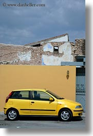 athens, cars, europe, greece, vertical, walls, yellow, photograph