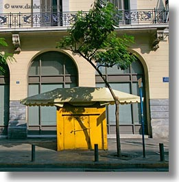 arching, athens, europe, greece, kiosks, square format, trees, yellow, photograph