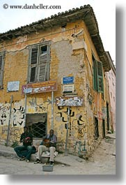 african, athens, buildings, europe, greece, people, ruined, singers, vertical, photograph
