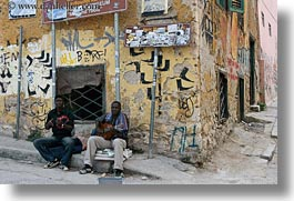 african, athens, buildings, europe, greece, horizontal, people, ruined, singers, photograph