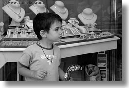athens, black and white, boys, europe, greece, horizontal, jewely, people, stores, photograph