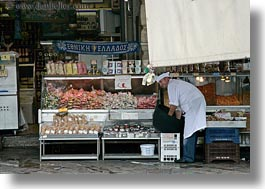 athens, europe, foods, greece, horizontal, people, smiling, stores, vendors, photograph