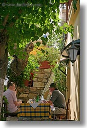 athens, colors, europe, greece, green, leafy, lunch, people, trees, under, vertical, photograph