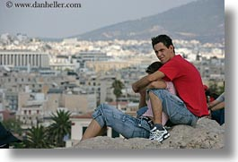 athens, cityscapes, colors, couples, emotions, europe, greece, horizontal, people, red, serious, teenage, photograph