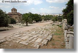 ancient, architectural ruins, athens, byantine, churches, europe, greece, horizontal, roads, photograph