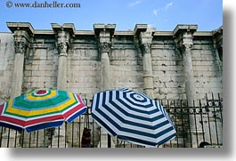 architectural ruins, athens, colorful, europe, greece, hadrians, horizontal, library, umbrellas, photograph