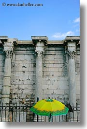 architectural ruins, athens, colorful, europe, greece, hadrians, library, umbrellas, vertical, photograph