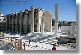 architectural ruins, athens, europe, greece, hadrians, horizontal, library, photograph