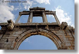 arches, architectural ruins, athens, clouds, europe, greece, hadrians, horizontal, nature, sky, photograph