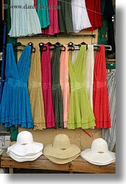 athens, colorful, dresses, europe, greece, hats, shops, vertical, photograph